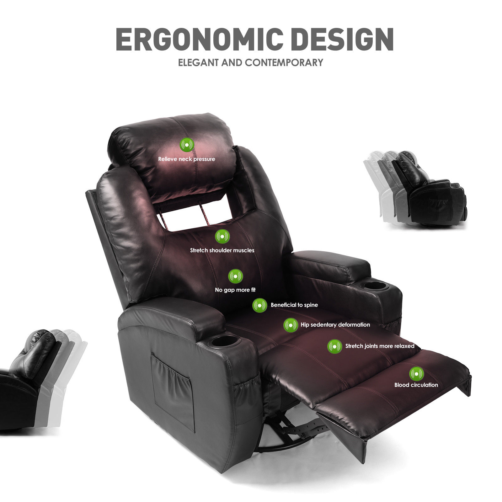 PU Leather Massage and Heat Zero Gravity Chair - Brody Massage