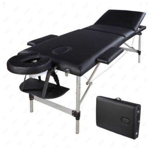 Black Aluminum 3 section Portable Massage Table