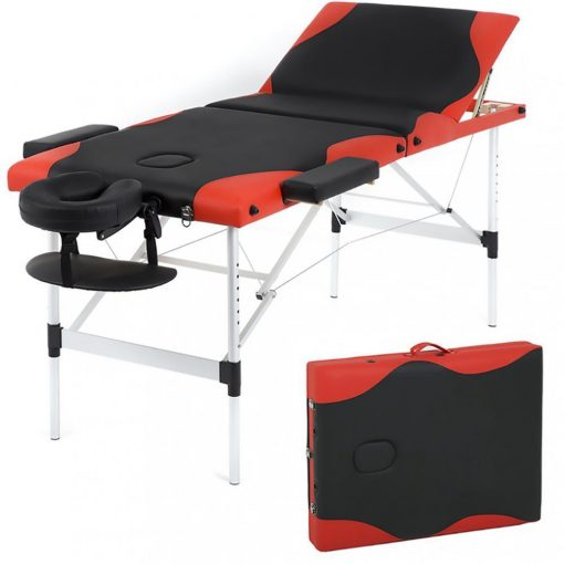 Black and Red Aluminum Portable Massage Table