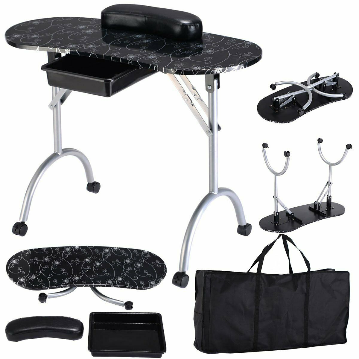 Manicure Foldable Table with Carrying Case