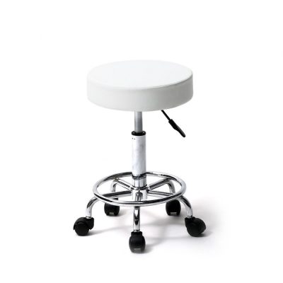 White Salon Stool with Foot Rest