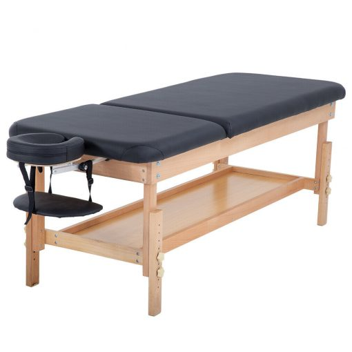 Stationary Black Massage Table with Incline
